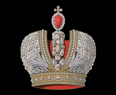 "The Great Imperial Crown was made for Empress Catherine II the Great's Coronation in 1762. The large red stone at the crest of the crown is the second largest known spinel, weighing 398 carats. It has been titled: ""Catherine the Great's Ruby"